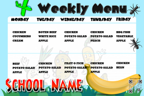 Cute weekly menu poster for school canteens and school (Theme: kids)