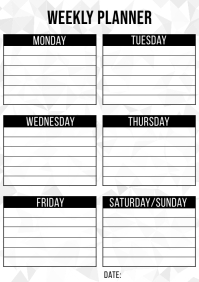 Weekly Planner Printable A4 template