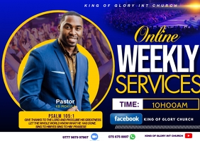 Weekly service flyer Postcard template