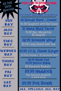 Weekly Specials for Restaurant Bars and Pubs