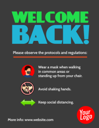 Welcome Back protocols and regulations poster Рекламная листовка (US Letter) template
