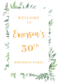 Welcome Birthday Party Sign A1 template