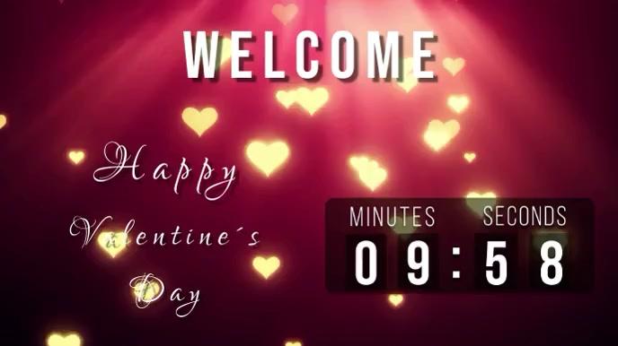 welcome countdown valentines Digitalt display (16:9) template