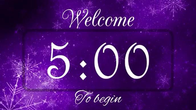 Welcome purple countdown Pantalla Digital (16:9) template