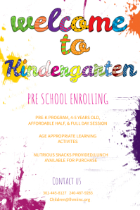 Welcome To Kindergarten Poster Template