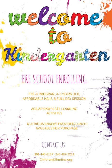 Welcome To Kindergarten Poster Template