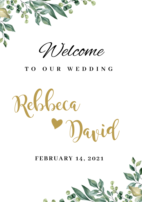 welcome to our wedding sign A1 template