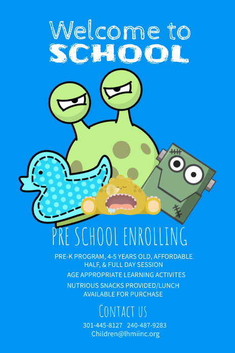 Welcome To school Blue Posters template