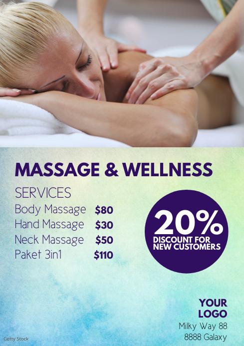Wellness Massage beauty Center Salon Studio A4 template