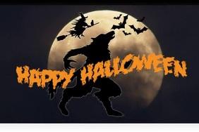 Werewolf Halloween Digital Póster template