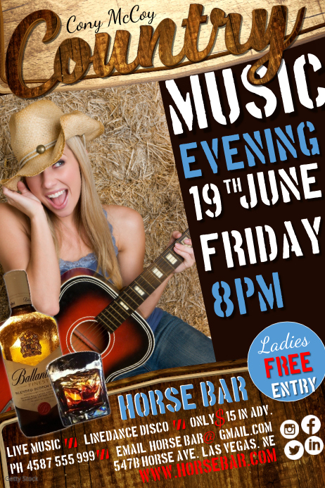 West Country Music Evening Poster Template