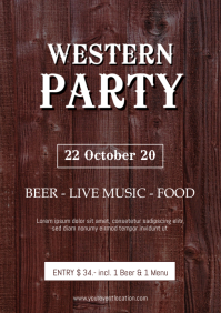 Western Party Event Trucker Country Wood Ad A4 template