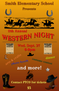 western theme school event template