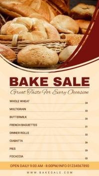 Wheat Bake Sale Menu Digital Display (9:16) template