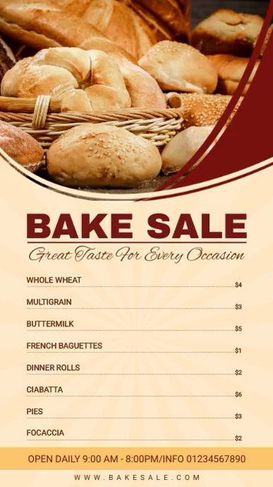 Wheat Bake Sale Menu