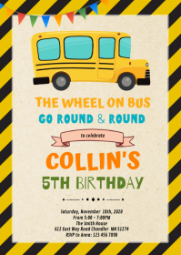Wheels on the Bus Birthday Invitation A6 template