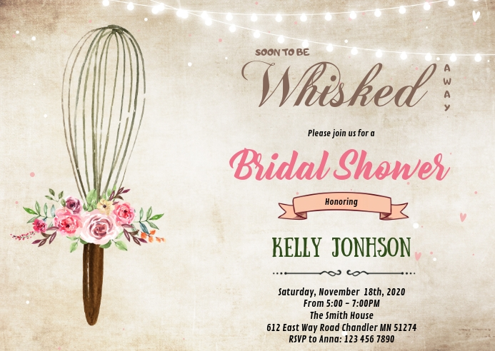 Whisk stock the kitchen shower invitation A6 template