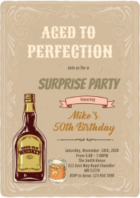Whiskey aged to perfection invitation A6 template