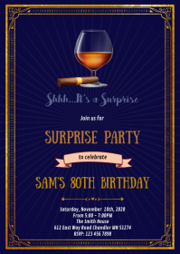 Whiskey blue label cigar Invitation A6 template