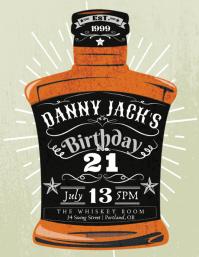 Whiskey Bottle Birthday Bash Flyer