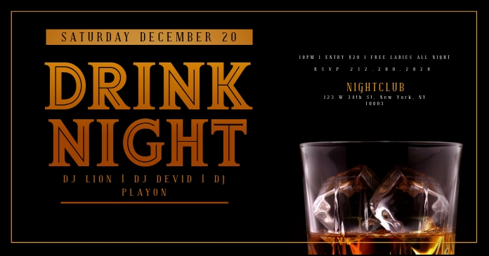 WHISKEY DRINK NIGHT Flyer Template Imagen Compartida en Facebook