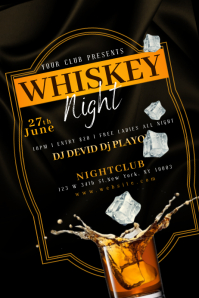 WHISKEY DRINK NIGHT Flyer Template แบนเนอร์ 4' × 6'