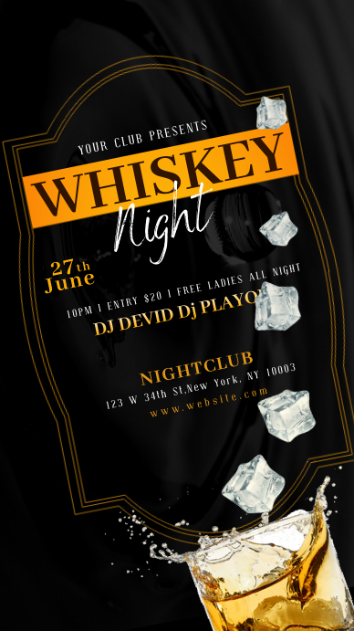 WHISKEY DRINK NIGHT Instagram Story template
