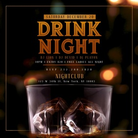 WHISKEY DRINK NIGHT iNSTAGRAM Template Wpis na Instagrama