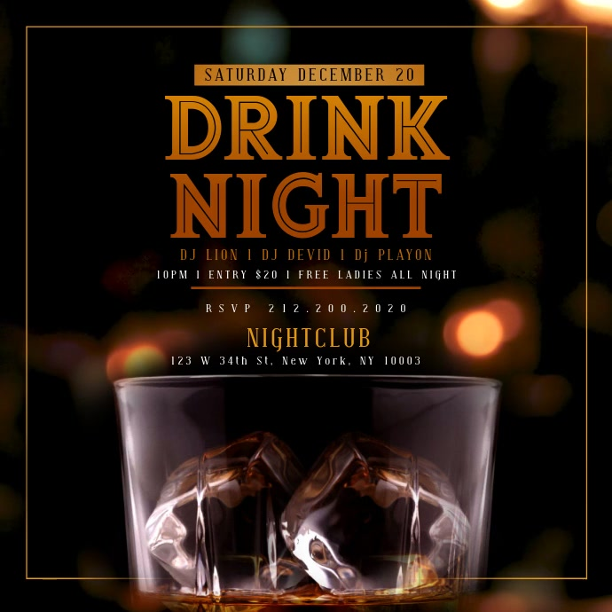 WHISKEY DRINK NIGHT iNSTAGRAM Template