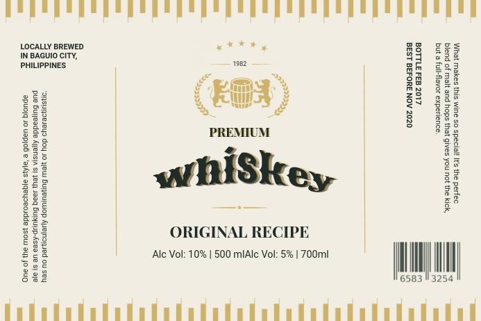 Whiskey Label Custom Design Etiket template