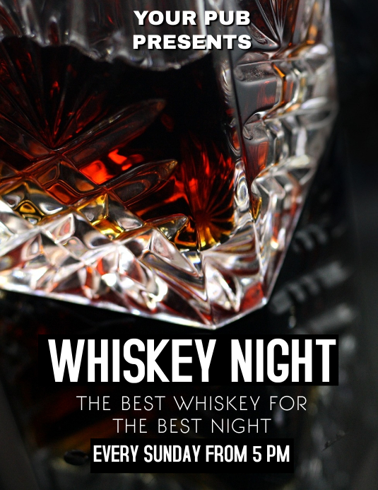 Whiskey night flyer event party