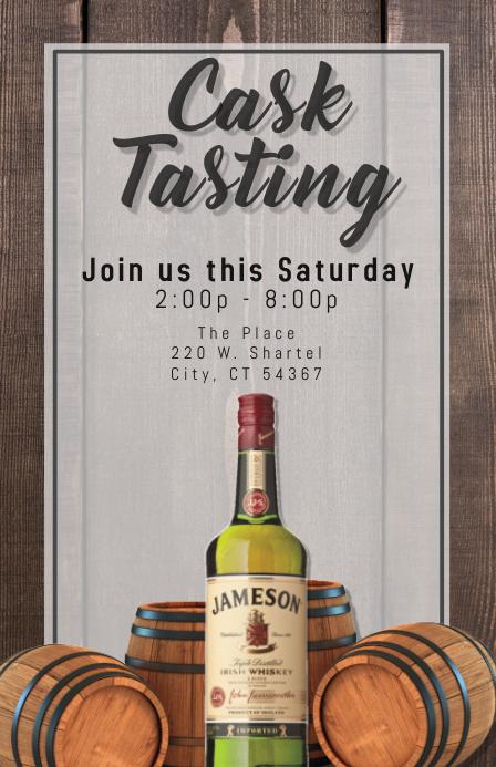 whiskey tasting bar menu flyer