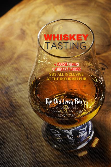 Whiskey Tasting Dinner Flyer