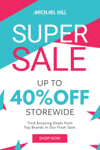 White, Green and Pink Sale Poster