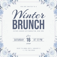 White & Blue Winter Brunch Invitation Wpis na Instagrama template