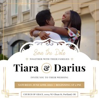 White & Gold African American Wedding Square Vierkant (1:1) template