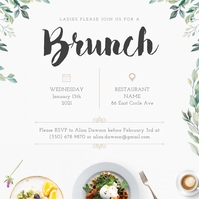 White & Green Ladies Brunch Invitation Wpis na Instagrama template