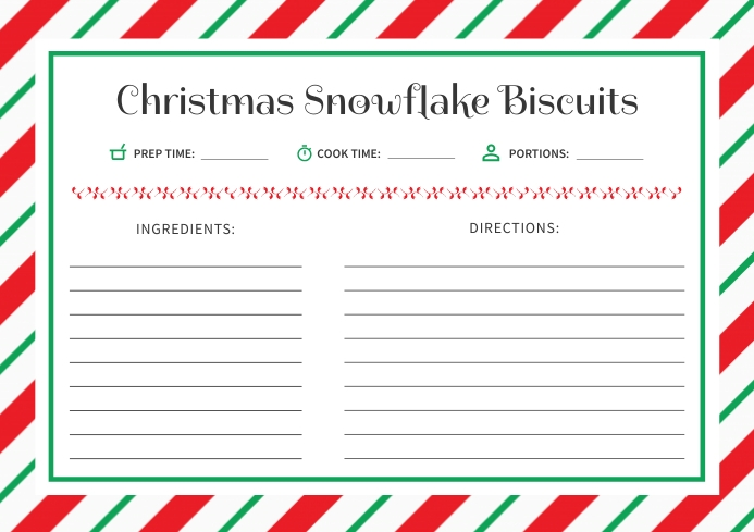 White & Red Christmas Recipe Card A4 template