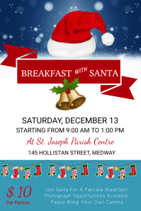 White & Blue Breakfast wWith Santa Template Poster