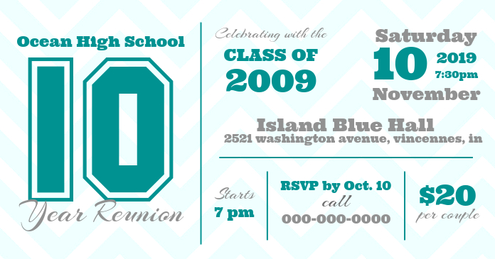 White and Aqua High School Reunion Facebook Cover Photo