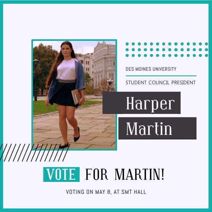 White and Aqua Student Council Election Campaign Instagram V