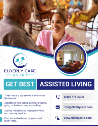 White and Blue Assisted Living Flyer template