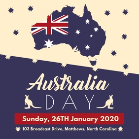White and Blue Australia Day Invite Instagram Post template