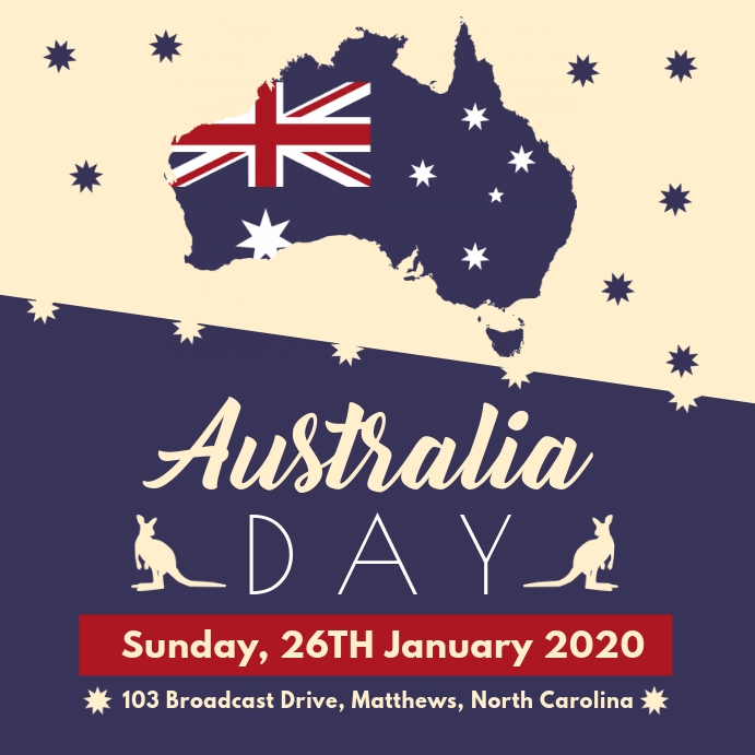 White and Blue Australia Day Invite Instagram-opslag template