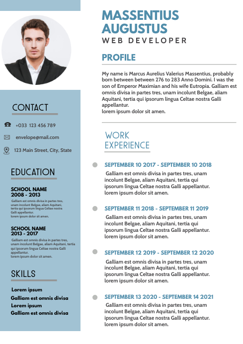 white and blue colors design template cv A4