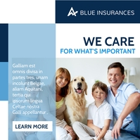 white and blue insurance corporate banner Instagram 帖子 template