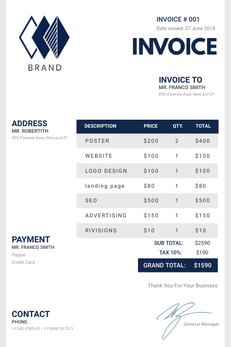 White and Blue Minimalist Custom Sales Invoic