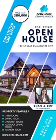 White and Blue Open House Advert Banner ป้ายโรลอัป 2' × 5' template