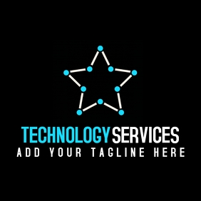 white and blue professional tech services sta Logo template