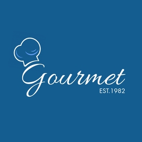 white and blue restaurant logo